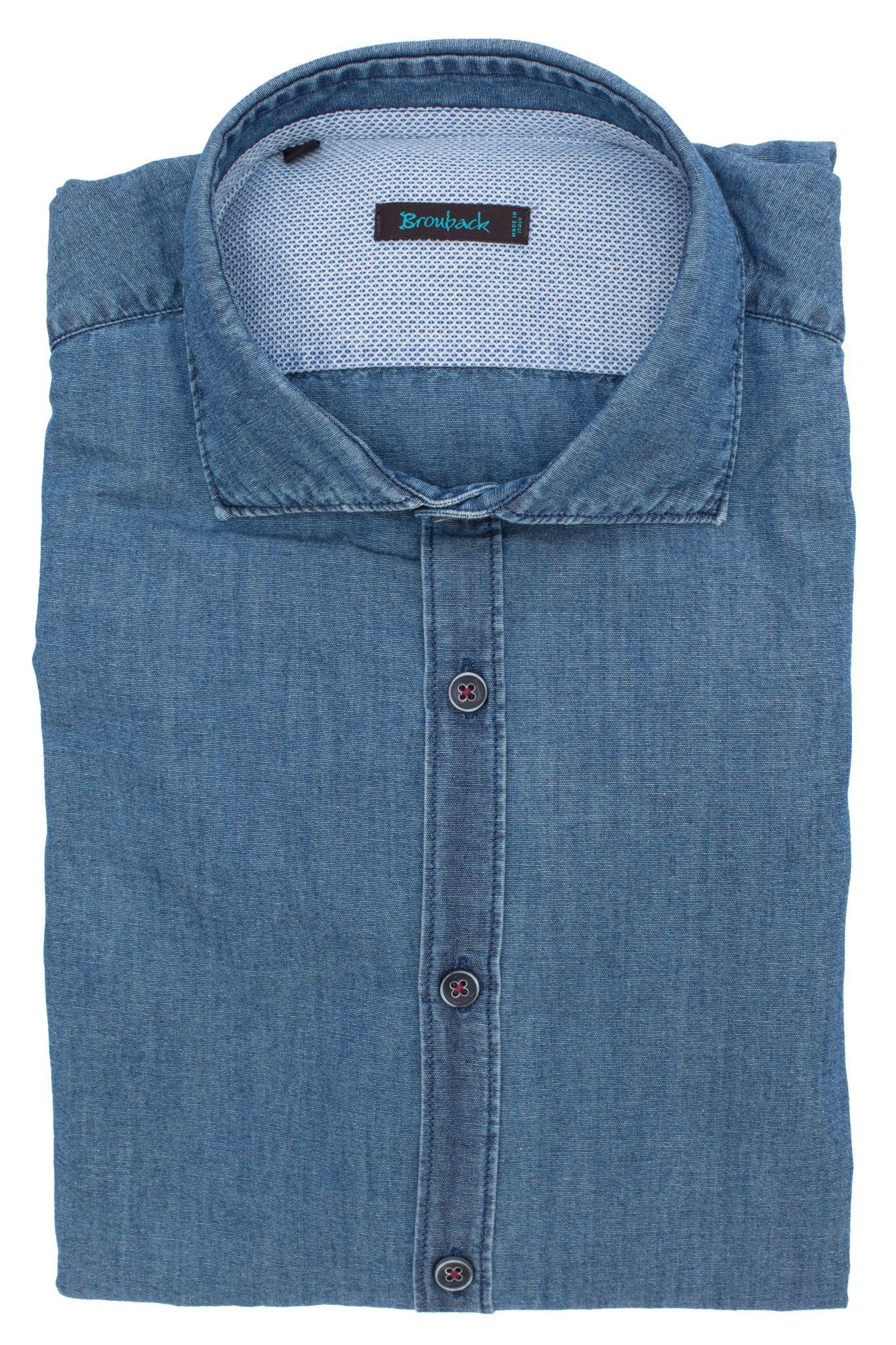 Рубашка из светло-синего денима