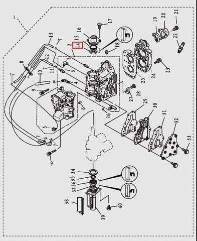 Сальник коленвала верхний 20x36x7 для лодочного мотора T9.8 Sea-PRO (2-14)