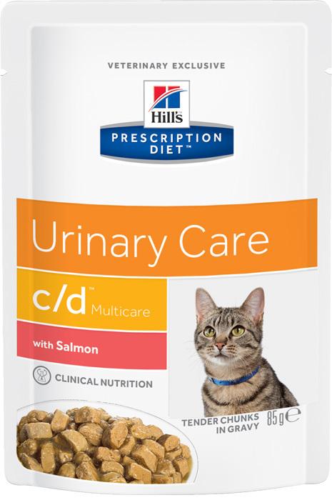 купить хиллс Hill's™ Prescription Diet™ Pauch Feline c/d™ Multicare Urinary Care with Salmon пауч (влажный корм) для взрослых кошек с лососем, профилактика МКБ