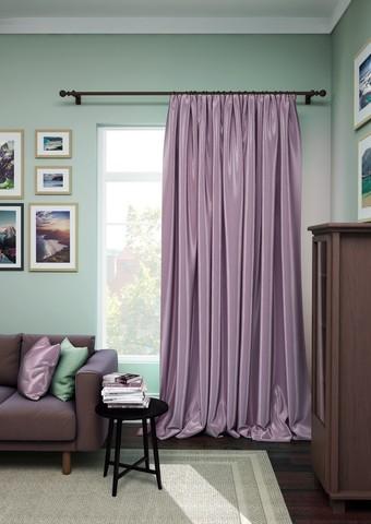 Готовая штора сатен Авери с подхватом нежно-фиолетовый
