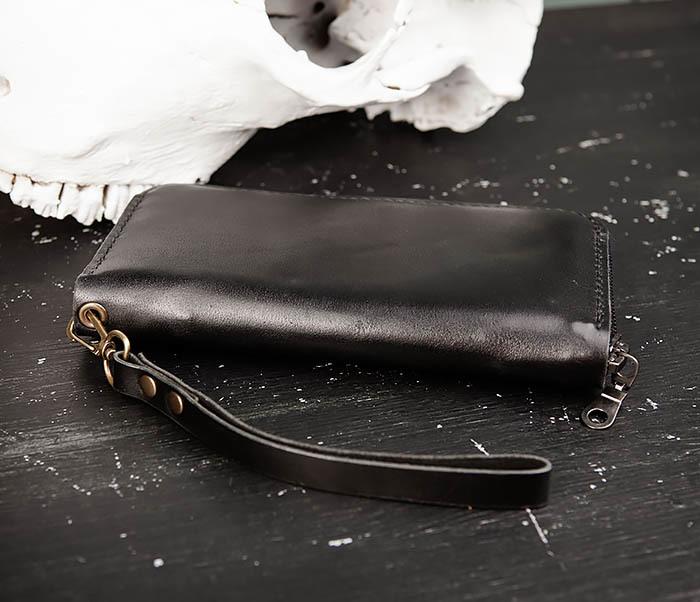 WB186-1 Черный мужской клатч ручной работы фото 07