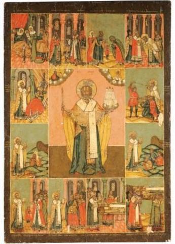 Икона святого Николая Чудотворца Можайского с житием на дереве на левкасе мастерская Иконный Дом