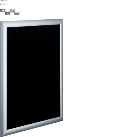 Наружная рамка с дверцей алюминиевая с пенопластовой вставкой черной для встраиваемых щитковVolta, 2-рядных для канцелярских кнопок