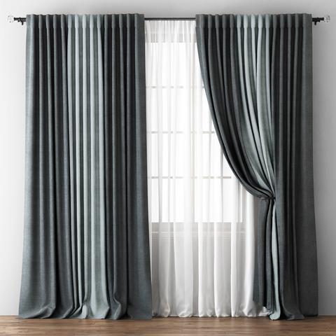 Комплект штор с подхватами Карин мокрый асфальт-серый