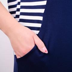 Роксолана літо. Стильна сукня для великих розмірів. Синій+смужка.