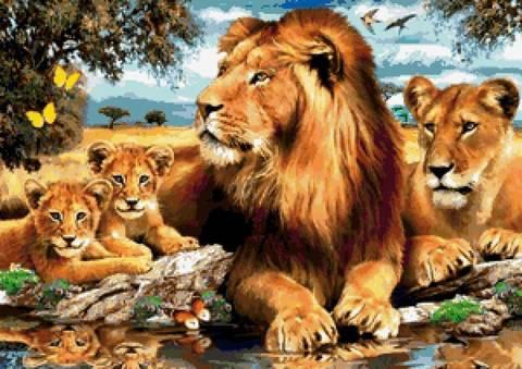 Алмазная Мозаика 5D 40x50 Семейство львов у озера