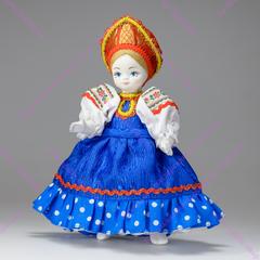 Сувенирная кукла Крестьянская девочка в синем сарафанчике