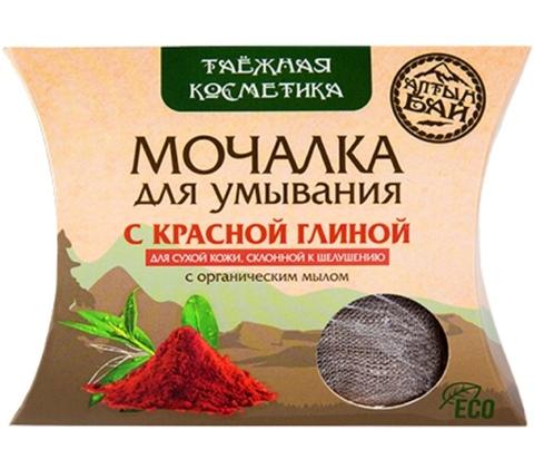 Мочалка для умывания с красной глиной для сухой кожи, 60 г