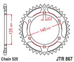Звезда задняя JT R 867.43 Yamaha TDM 850