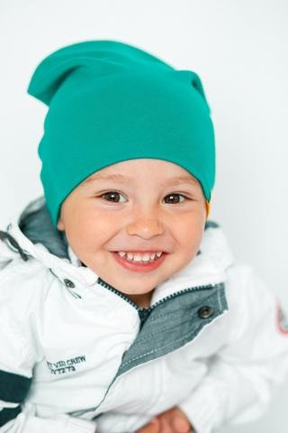 Детская шапка хлопковая гладкая изумрудная-синяя