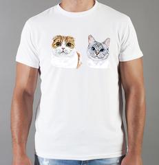 Футболка с принтом Кот, Кошка, Котенок (кошки) белая 0085
