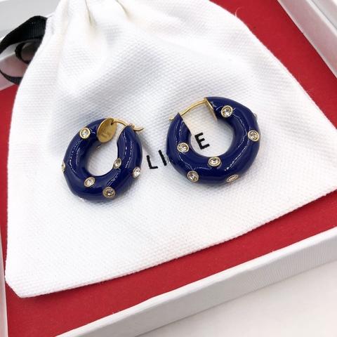 200169 - Серьги круглые дутые c синей эмалью lux