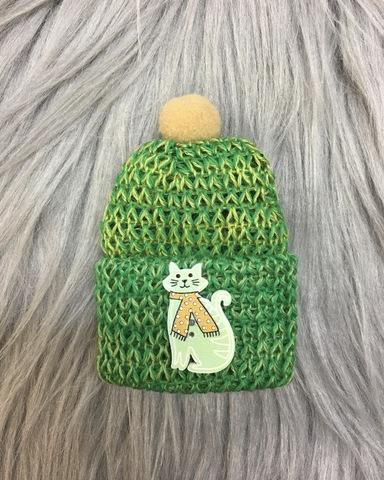 Зеленая мини- брошка с котиком