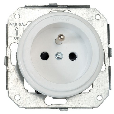 Розетка электрическая 2К+З французский стандарт с заземлением 16 A, 250 В~. Цвет Белый. Fontini Garby Colonial(Фонтини Гарби Колониал). 31208052