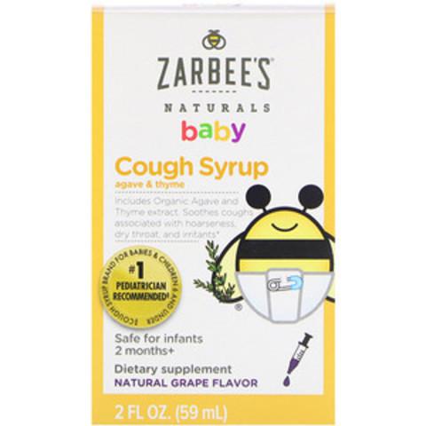Zarbee's, Детский сироп от кашля и мокроты, агавы и тимьян на натуральном виноградном вкусе 59 мл