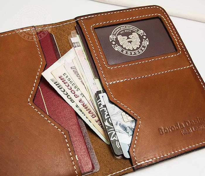 WB117-2 Мужской кошелек и обложка для паспорта с прозрачным окошком. «Boroda Design»