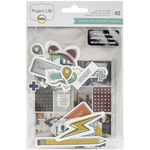 Высечки Project Life Ephemera Die-Cut Shapes - Sharp Edition W/Silver Foil- 40шт.