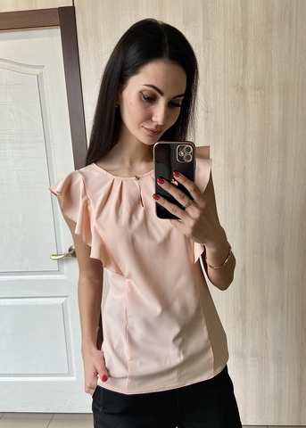 Ася. Сучасна ділова офісна блуза. Пудра