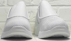 Кожаные сникерсы кроссовки без шнурков и липучек sport casual летние Derem 1761-10 All White.