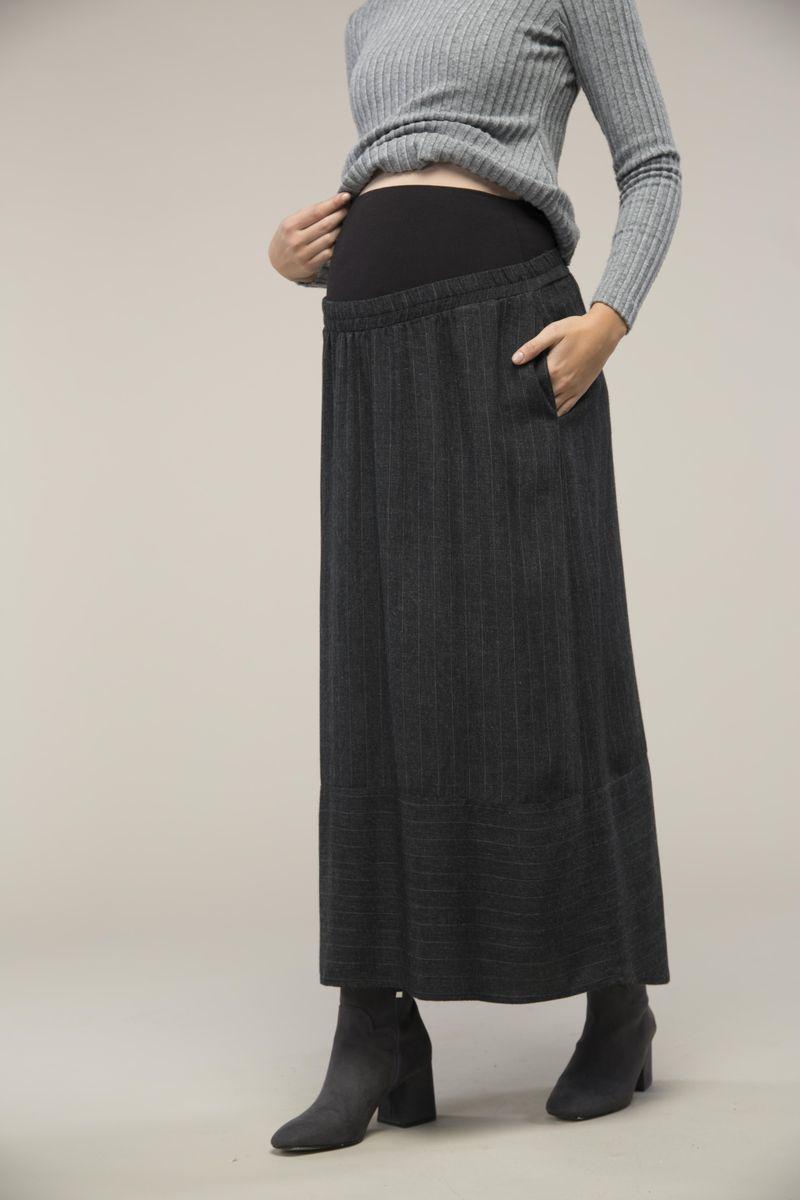 Юбка для беременных 09100 серая полоса