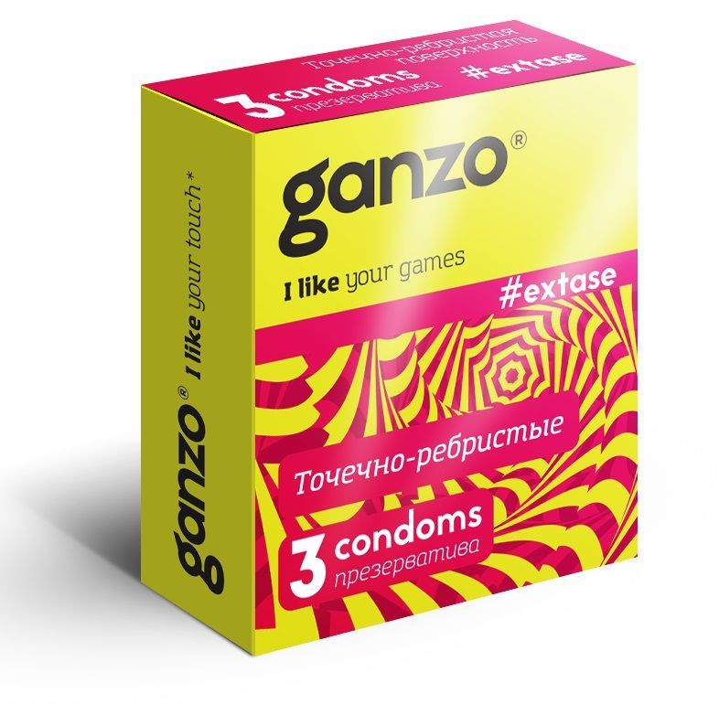Презервативы анатомической формы с точечной и ребристой структурой Ganzo Extase - 3 шт.