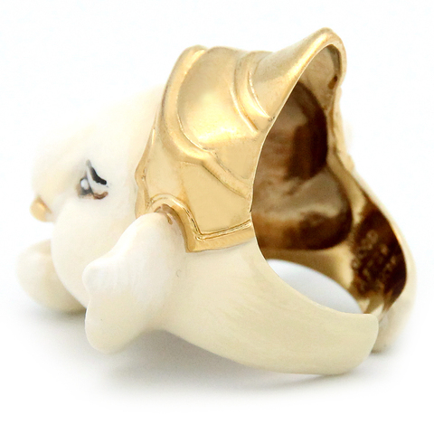 Кольцо Ганеша (слон бежевый)