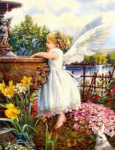 Алмазная Мозаика 40x50 Ангел у фонтана (арт. WXSA2630)