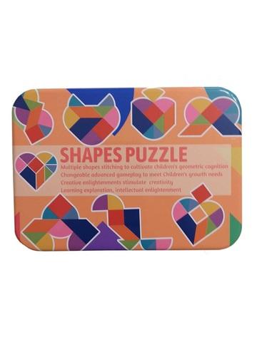 Развивающая головоломка деревянный танграм SHAPES PUZZLE 50 карточек, 100 заданий, 9 геометрических фигур в жестяной коробке