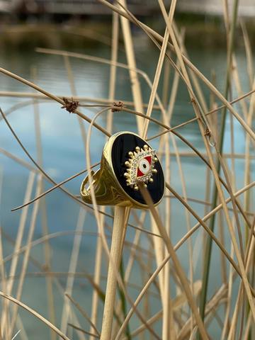 Кольцо-печатка Око из позолоченного серебра с черной эмалью