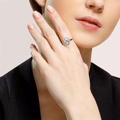 92011849 - Кольцо из серебра с горным хрусталем и фианитами
