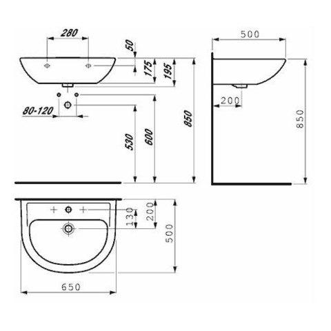 Раковина Laufen Pro B 65x50см 8.1095.3.000.104.1 схема