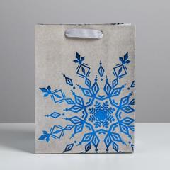 Пакет крафтовый вертикальный «Снежинка», MS 18 × 23 × 10 см, 1 шт.