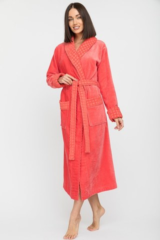 Махровый женский халат  742 коралл