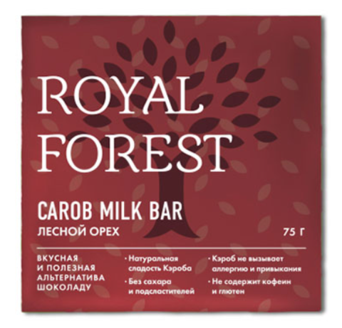 Шоколад из кэроба с лесными орехами, 75 гр