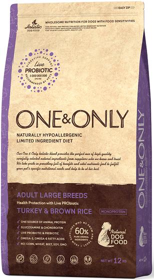 Сухой корм Корм для взрослых собак крупных пород, ONE&ONLY Turkey & Rice Adult LARGE Breeds, с индейкой и рисом Индейка_с_рисом_Макси.png