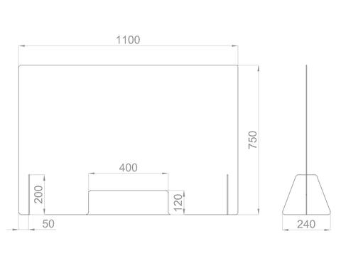 Настольный экран с окном Ш.1100 мм, В.600/750 мм