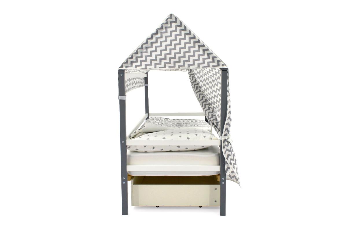 """Крыша текстильная для кровати-домика Svogen """"зигзаги графит"""""""