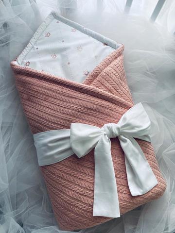 Конверт-одеяло для новорожденных вязка цвет корал