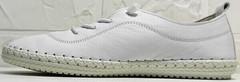 Женские низкие кеды мокасины со шнурками Rozen 115 All White.