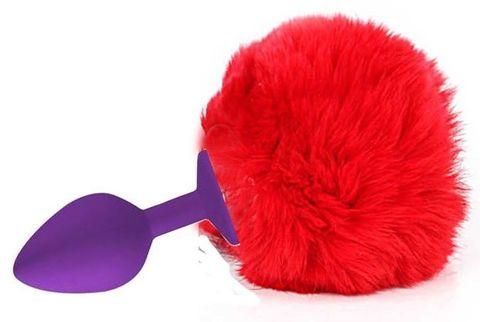 Фиолетовая анальная пробка с пушистым красным хвостиком зайки