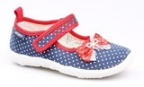 Детские текстильные туфли Котофей 431042-14, для девочки, сине-красные. Изображение 2 из 3.