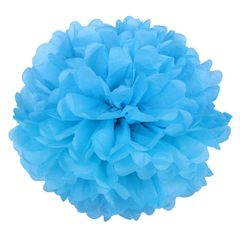 Помпон из бумаги 40 см синий