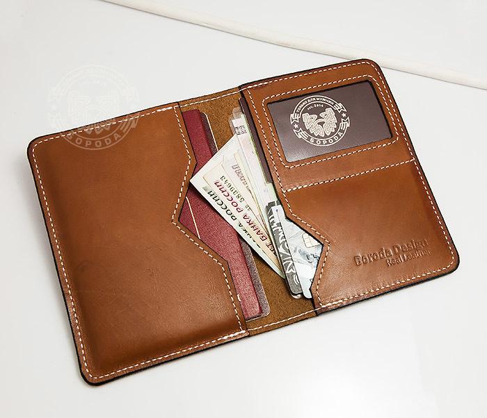 WB117-2 Мужской кошелек и обложка для паспорта с прозрачным окошком. «Boroda Design» фото 06