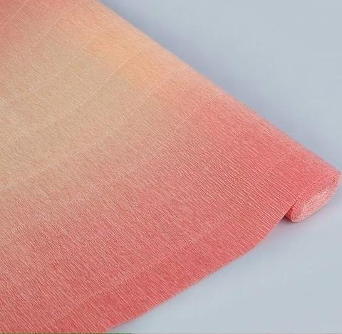 Гофрированная бумага с переходом. цвет 17А/7 розово-персиковый, 180г, 50х250 см, Cartotecnica Rossi (Италия)