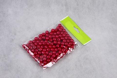 Бусинки в пакете 6 мм, пластик, 50 г, цвет: малиновый