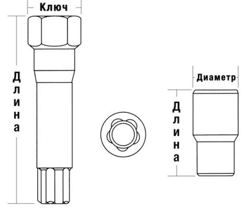 Гайка колёсная M12x1.25 RH L38 KOSEI