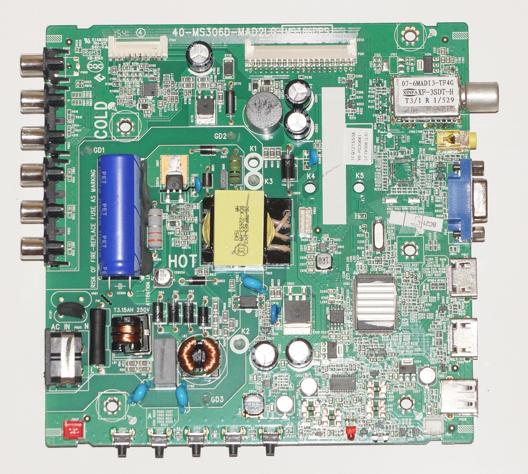 40-MS306D-MAD2LG MS306DPS IFQ121550A mainboard телевизора TELEFUNKEN