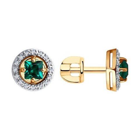 6027042 - Серьги из золота с бриллиантами и изумрудом гидротермальным