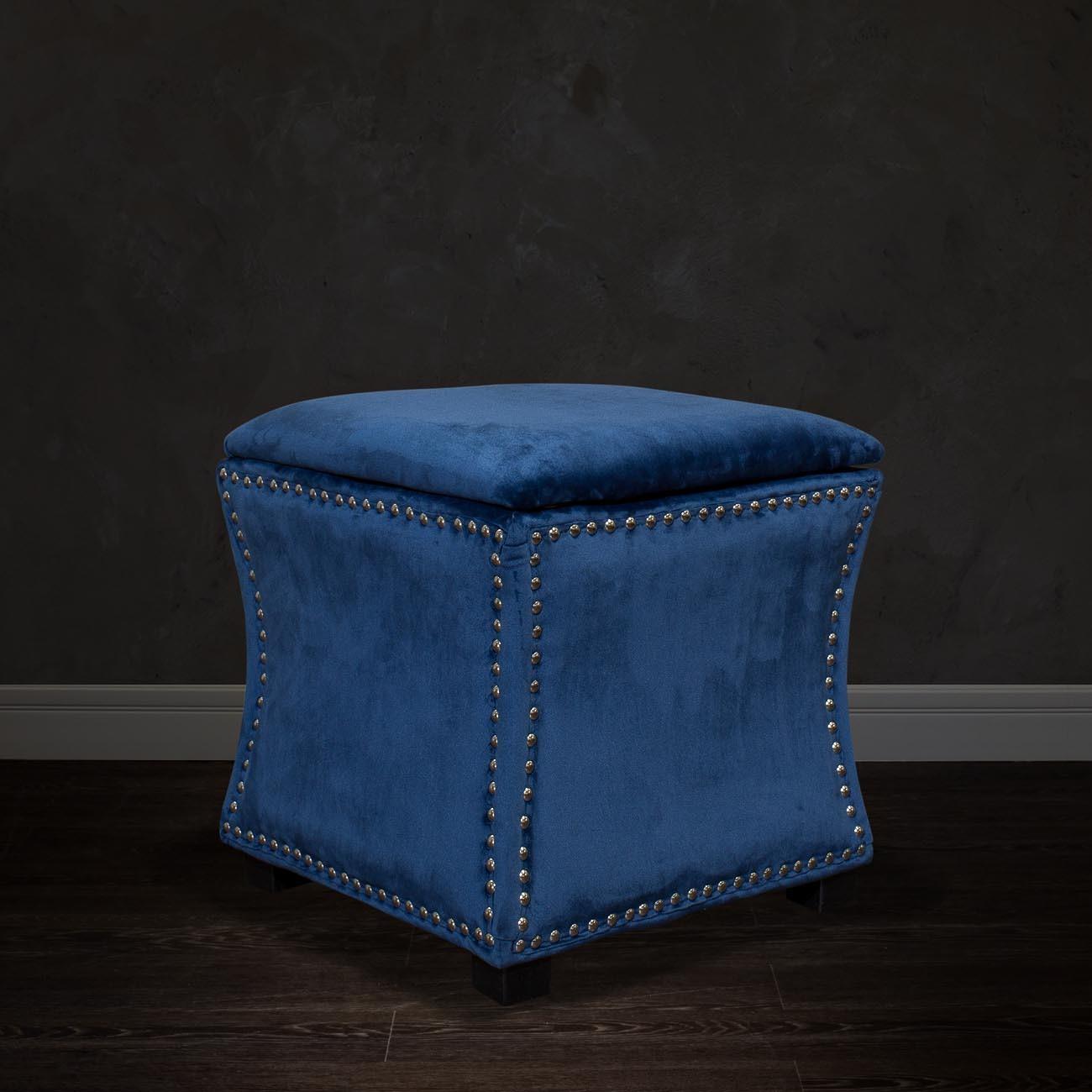 Банкетка с крышкой велюровая (синяя) (24YJ-5005-06466) Garda Decor