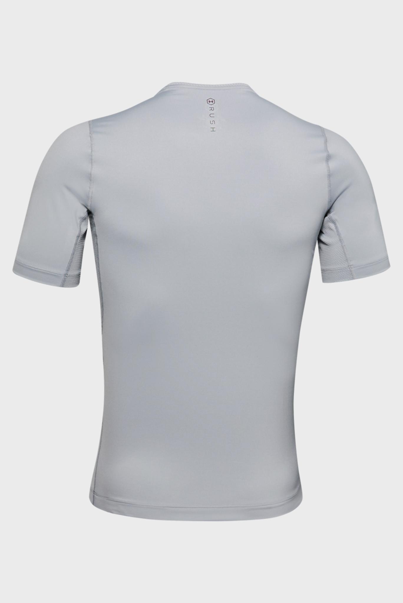 Мужская серая спортивная компрессионная футболка UA HG Rush Compression SS Under Armour